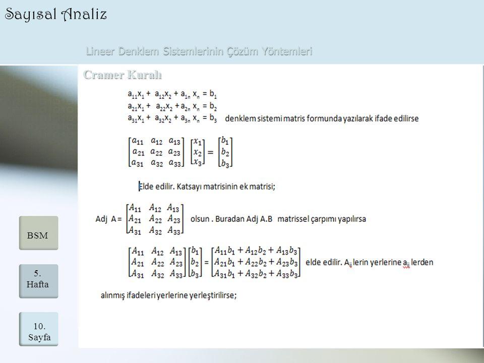 Lineer Denklem Sistemlerinin Çözüm Yöntemleri 10. Sayfa 5. Hafta BSM Sayısal Analiz Cramer Kuralı