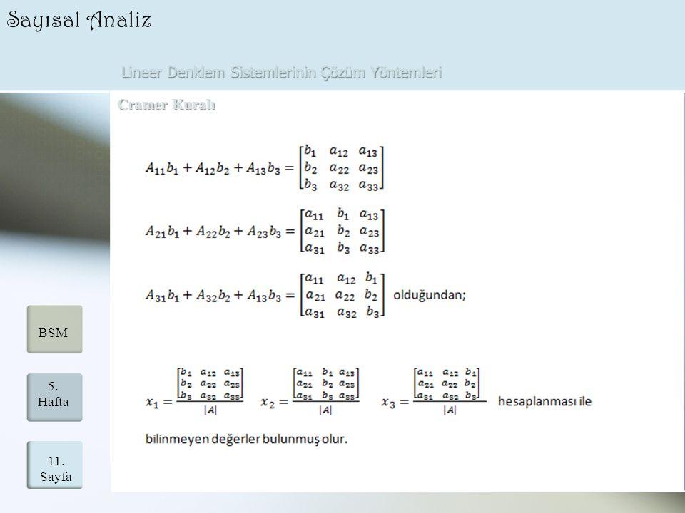 Lineer Denklem Sistemlerinin Çözüm Yöntemleri 11. Sayfa 5. Hafta BSM Sayısal Analiz Cramer Kuralı