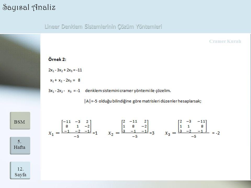 Lineer Denklem Sistemlerinin Çözüm Yöntemleri 12. Sayfa 5. Hafta BSM Sayısal Analiz Cramer Kuralı