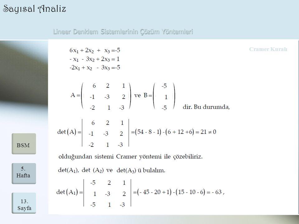 Lineer Denklem Sistemlerinin Çözüm Yöntemleri 13. Sayfa 5. Hafta BSM Sayısal Analiz Cramer Kuralı
