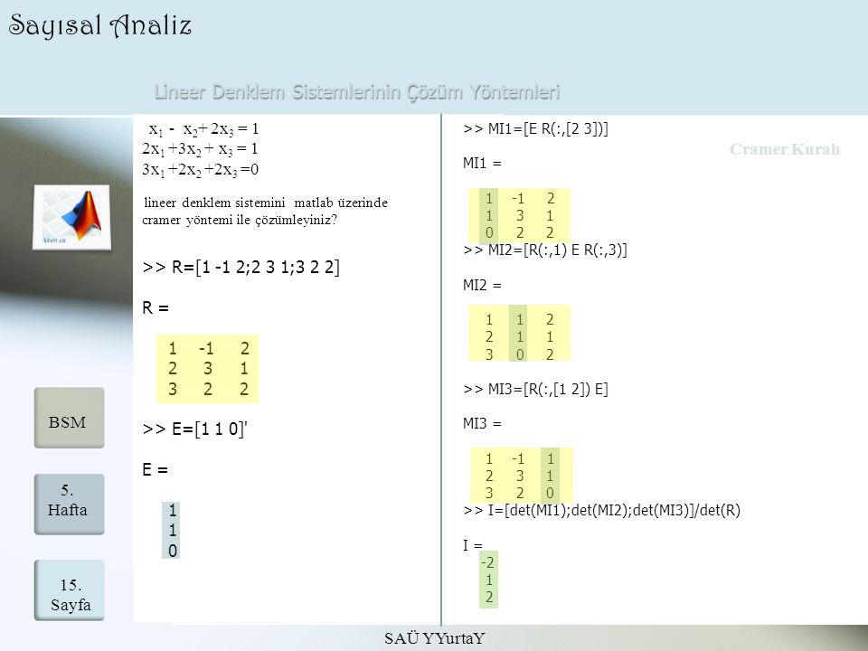 Lineer Denklem Sistemlerinin Çözüm Yöntemleri SAÜ YYurtaY 15. Sayfa 5. Hafta BSM Sayısal Analiz x 1 - x 2 + 2x 3 = 1 2x 1 +3x 2 + x 3 = 1 3x 1 +2x 2 +