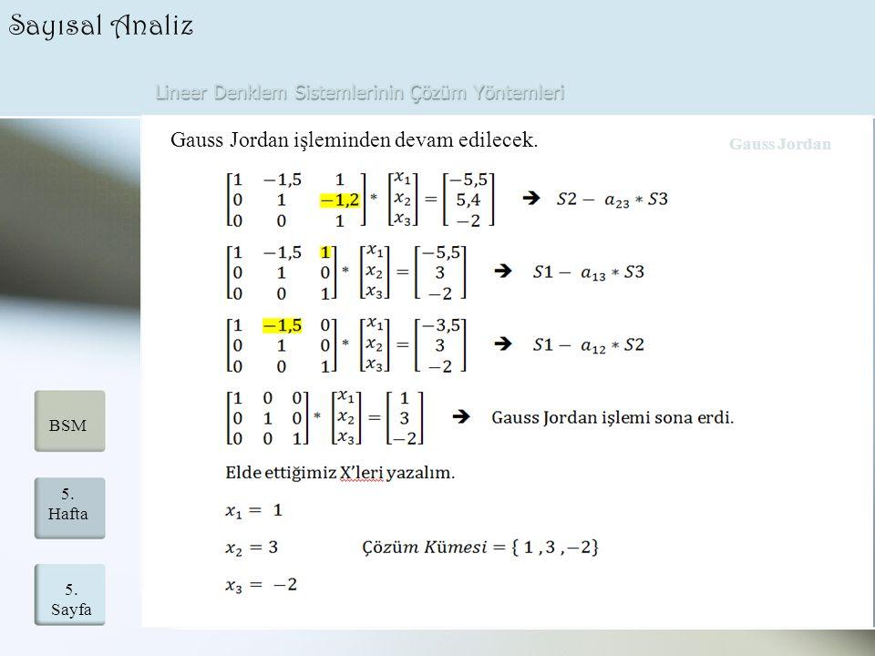 Lineer Denklem Sistemlerinin Çözüm Yöntemleri 5. Sayfa 5. Hafta BSM Sayısal Analiz Gauss Jordan işleminden devam edilecek. Gauss Jordan