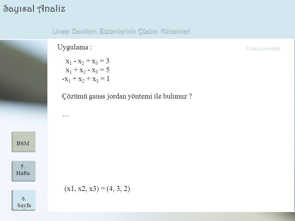 Lineer Denklem Sistemlerinin Çözüm Yöntemleri 6. Sayfa 5. Hafta BSM Sayısal Analiz Uygulama : x 1 - x 2 + x 3 = 3 x 1 + x 2 - x 3 = 5 -x 1 + x 2 + x 3