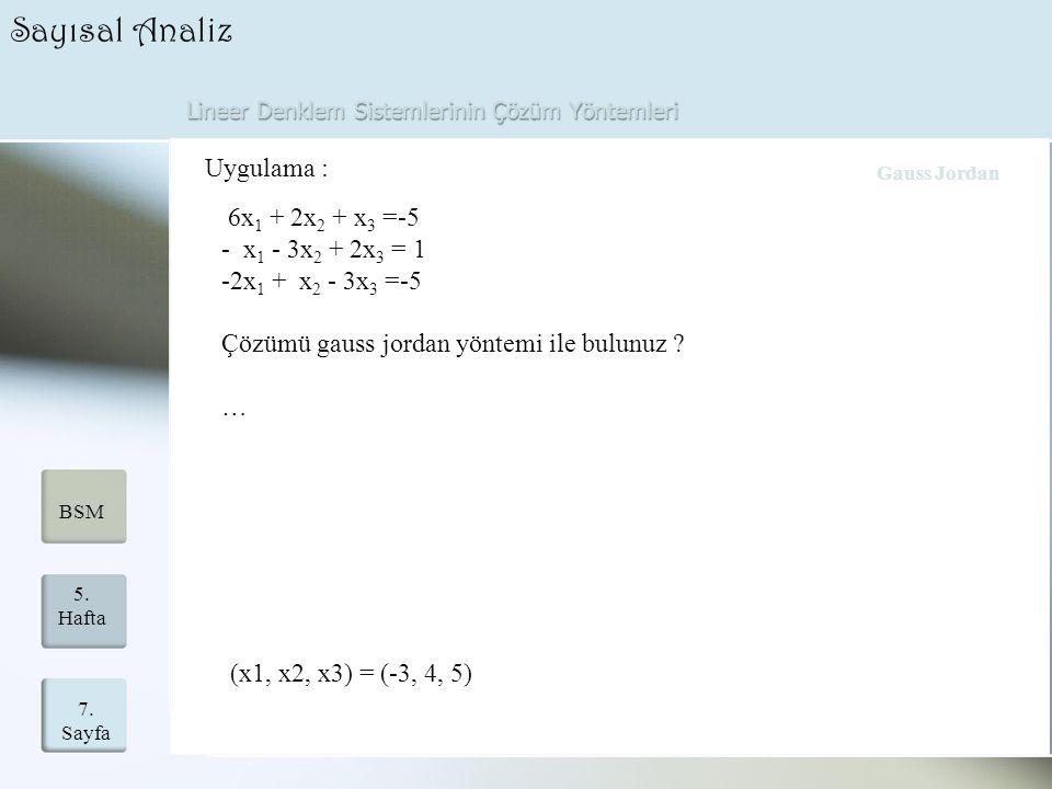 Lineer Denklem Sistemlerinin Çözüm Yöntemleri 7. Sayfa 5. Hafta BSM Sayısal Analiz Uygulama : 6x 1 + 2x 2 + x 3 =-5 - x 1 - 3x 2 + 2x 3 = 1 -2x 1 + x