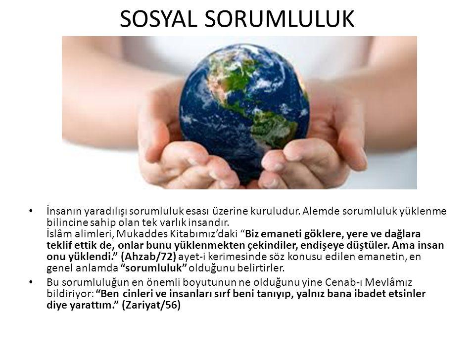 SOSYAL SORUMLULUK İnsanın yaradılışı sorumluluk esası üzerine kuruludur.