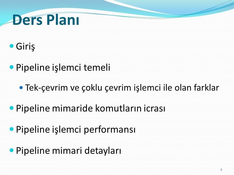 Ders Planı Giriş Pipeline işlemci temeli Tek-çevrim ve çoklu çevrim işlemci ile olan farklar Pipeline mimaride komutların icrası Pipeline işlemci perf