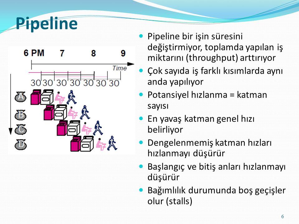 Pipeline 6 Pipeline bir işin süresini değiştirmiyor, toplamda yapılan iş miktarını (throughput) arttırıyor Çok sayıda iş farklı kısımlarda aynı anda y