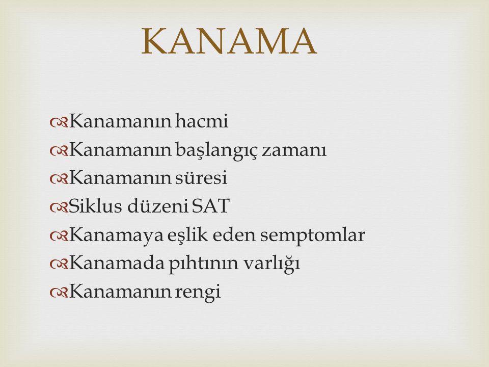 KANAMA  Kanamanın hacmi  Kanamanın başlangıç zamanı  Kanamanın süresi  Siklus düzeni SAT  Kanamaya eşlik eden semptomlar  Kanamada pıhtının varl