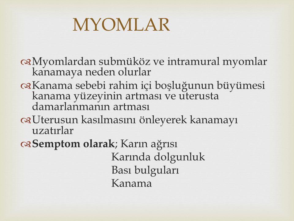 MYOMLAR  Myomlardan submüköz ve intramural myomlar kanamaya neden olurlar  Kanama sebebi rahim içi boşluğunun büyümesi kanama yüzeyinin artması ve u