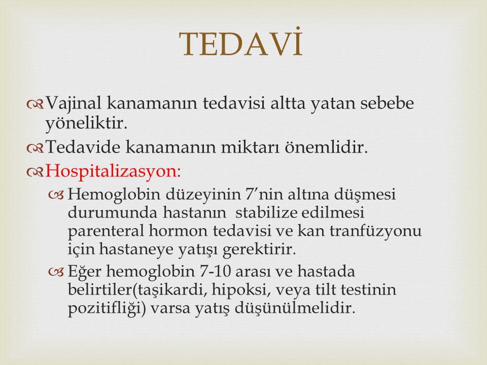 TEDAVİ  Vajinal kanamanın tedavisi altta yatan sebebe yöneliktir.  Tedavide kanamanın miktarı önemlidir.  Hospitalizasyon:  Hemoglobin düzeyinin 7