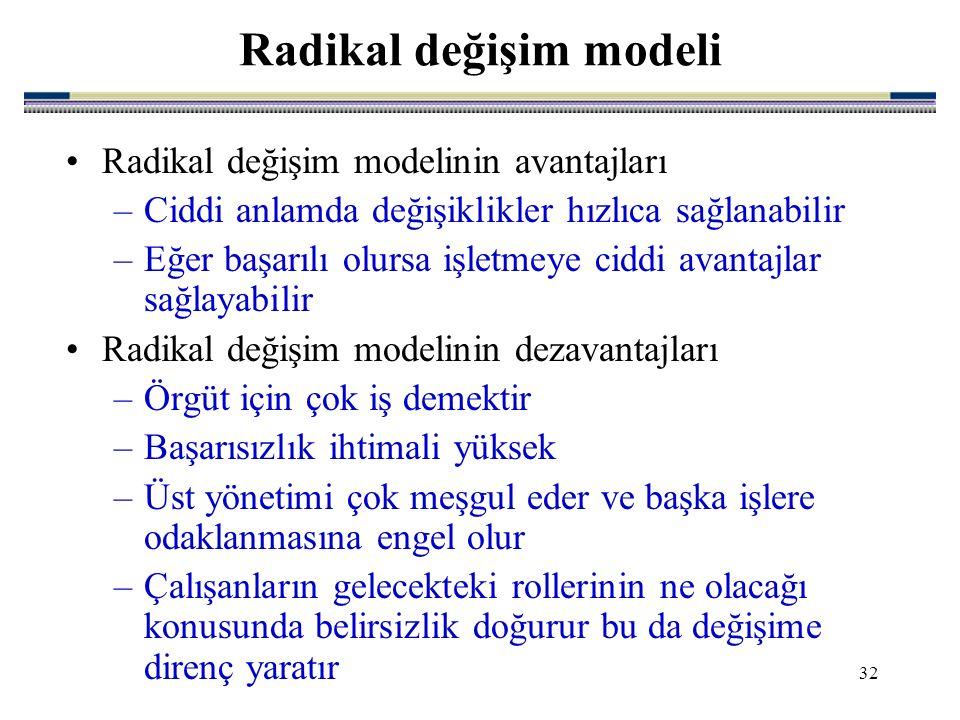 32 Radikal değişim modelinin avantajları –Ciddi anlamda değişiklikler hızlıca sağlanabilir –Eğer başarılı olursa işletmeye ciddi avantajlar sağlayabilir Radikal değişim modelinin dezavantajları –Örgüt için çok iş demektir –Başarısızlık ihtimali yüksek –Üst yönetimi çok meşgul eder ve başka işlere odaklanmasına engel olur –Çalışanların gelecekteki rollerinin ne olacağı konusunda belirsizlik doğurur bu da değişime direnç yaratır Radikal değişim modeli