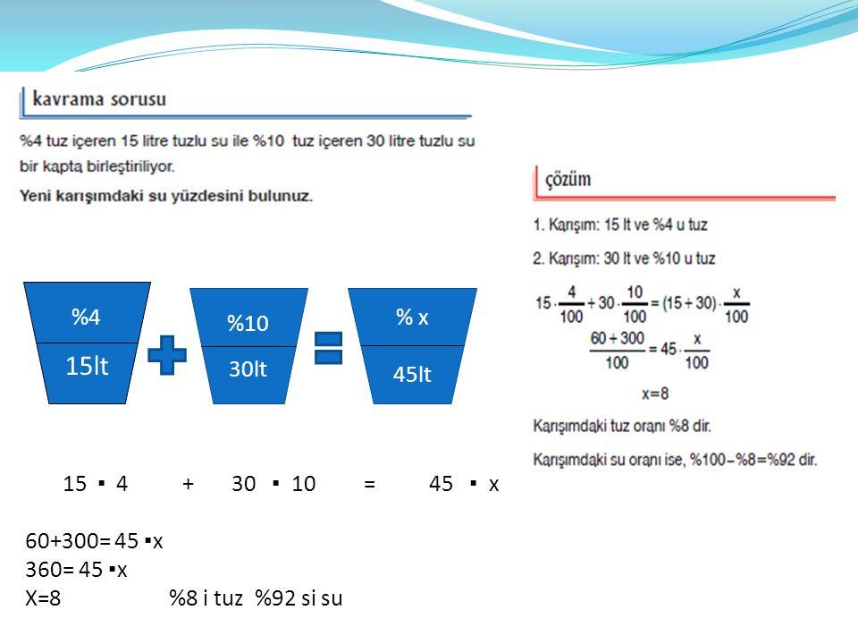 %4 15lt %10 30lt % x 45lt 15 ▪ 4 + 30 ▪ 10 = 45 ▪ x 60+300= 45 ▪ x 360= 45 ▪ x X=8 %8 i tuz %92 si su
