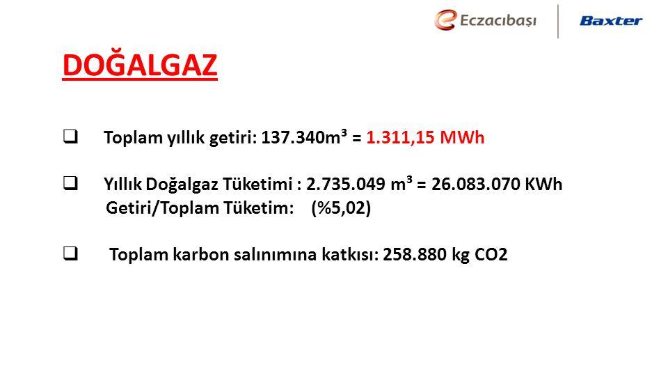  Toplam yıllık getiri: 137.340m³ = 1.311,15 MWh  Yıllık Doğalgaz Tüketimi : 2.735.049 m³ = 26.083.070 KWh Getiri/Toplam Tüketim: (%5,02)  Toplam karbon salınımına katkısı: 258.880 kg CO2 DOĞALGAZ