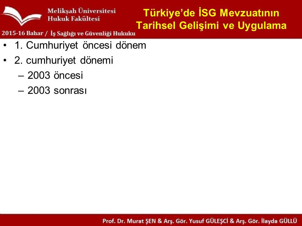 Türkiye'de İSG Mevzuatının Tarihsel Gelişimi ve Uygulama 1.