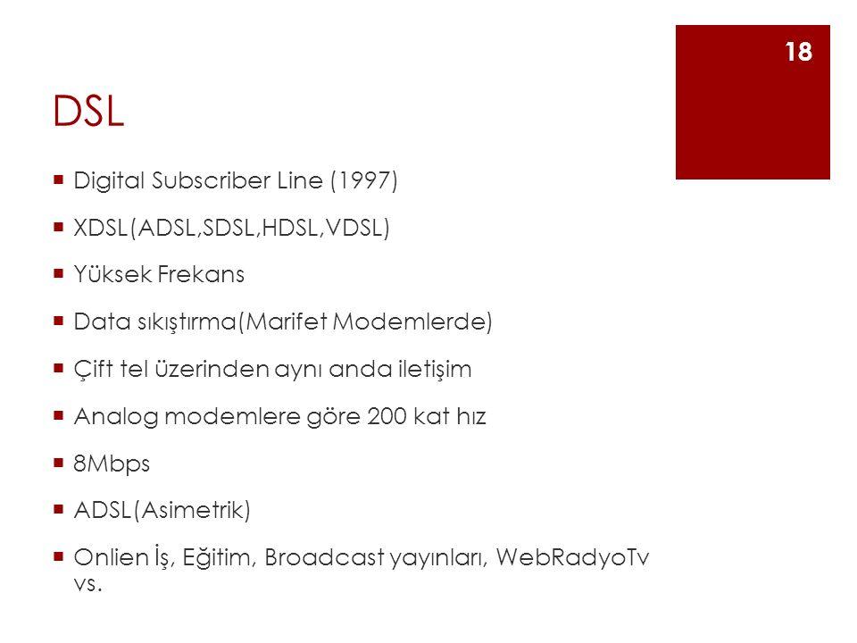 DSL  Digital Subscriber Line (1997)  XDSL(ADSL,SDSL,HDSL,VDSL)  Yüksek Frekans  Data sıkıştırma(Marifet Modemlerde)  Çift tel üzerinden aynı anda