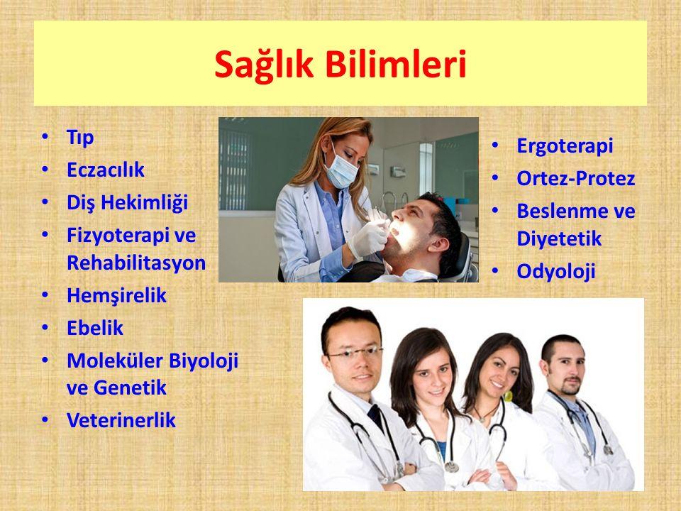 Sağlık Bilimleri Tıp Eczacılık Diş Hekimliği Fizyoterapi ve Rehabilitasyon Hemşirelik Ebelik Moleküler Biyoloji ve Genetik Veterinerlik Ergoterapi Ortez-Protez Beslenme ve Diyetetik Odyoloji