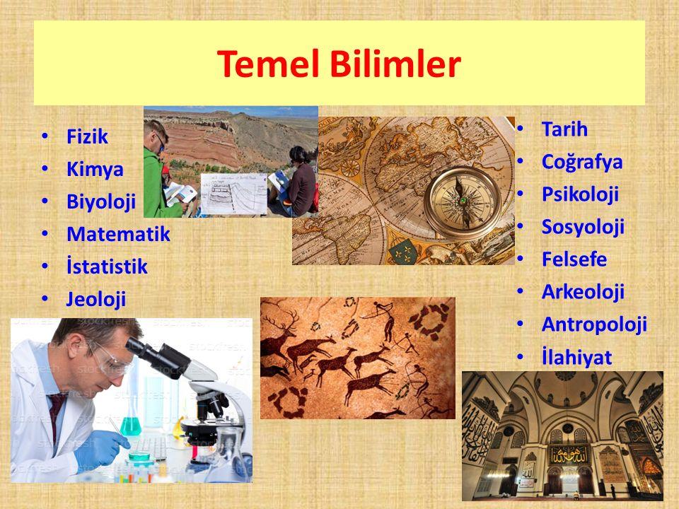 Temel Bilimler Fizik Kimya Biyoloji Matematik İstatistik Jeoloji Tarih Coğrafya Psikoloji Sosyoloji Felsefe Arkeoloji Antropoloji İlahiyat