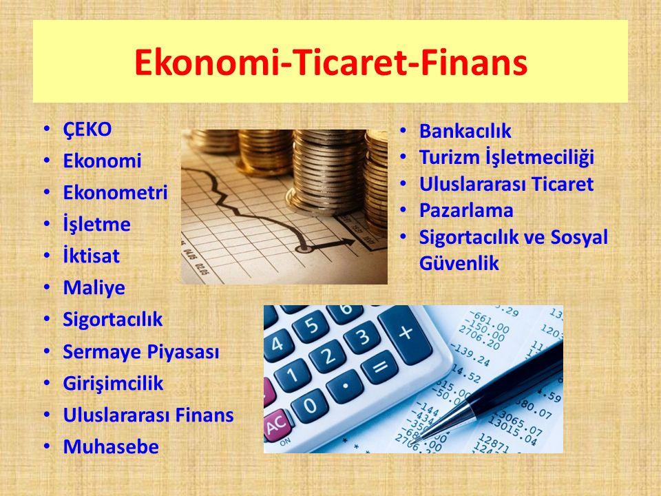 Ekonomi-Ticaret-Finans ÇEKO Ekonomi Ekonometri İşletme İktisat Maliye Sigortacılık Sermaye Piyasası Girişimcilik Uluslararası Finans Muhasebe Bankacılık Turizm İşletmeciliği Uluslararası Ticaret Pazarlama Sigortacılık ve Sosyal Güvenlik