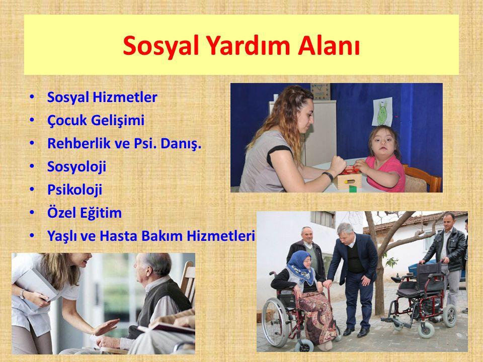 Sosyal Yardım Alanı Sosyal Hizmetler Çocuk Gelişimi Rehberlik ve Psi. Danış. Sosyoloji Psikoloji Özel Eğitim Yaşlı ve Hasta Bakım Hizmetleri
