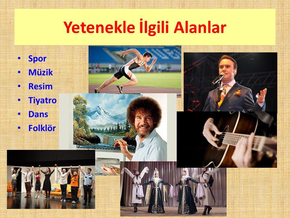 Yetenekle İlgili Alanlar Spor Müzik Resim Tiyatro Dans Folklör