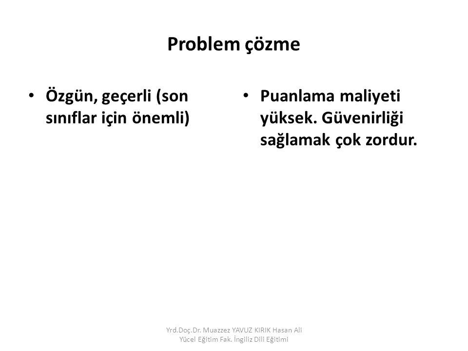 Problem çözme Özgün, geçerli (son sınıflar için önemli) Puanlama maliyeti yüksek.