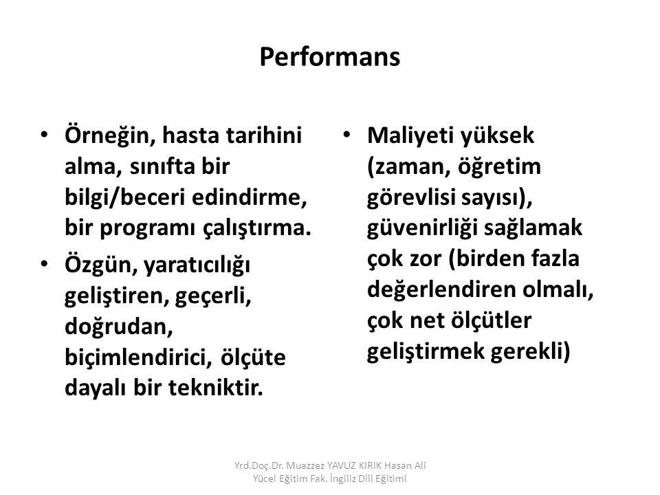 Performans Örneğin, hasta tarihini alma, sınıfta bir bilgi/beceri edindirme, bir programı çalıştırma.
