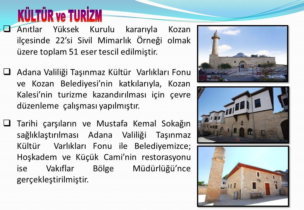 10  Anıtlar Yüksek Kurulu kararıyla Kozan ilçesinde 22'si Sivil Mimarlık Örneği olmak üzere toplam 51 eser tescil edilmiştir.