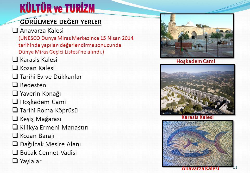 11 GÖRÜLMEYE DEĞER YERLER  Anavarza Kalesi (UNESCO Dünya Miras Merkezince 15 Nisan 2014 tarihinde yapılan değerlendirme sonucunda Dünya Miras Geçici