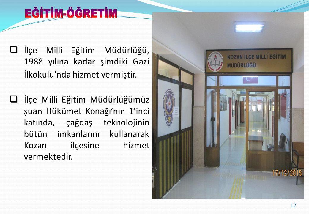 12  İlçe Milli Eğitim Müdürlüğü, 1988 yılına kadar şimdiki Gazi İlkokulu'nda hizmet vermiştir.  İlçe Milli Eğitim Müdürlüğümüz şuan Hükümet Konağı'n