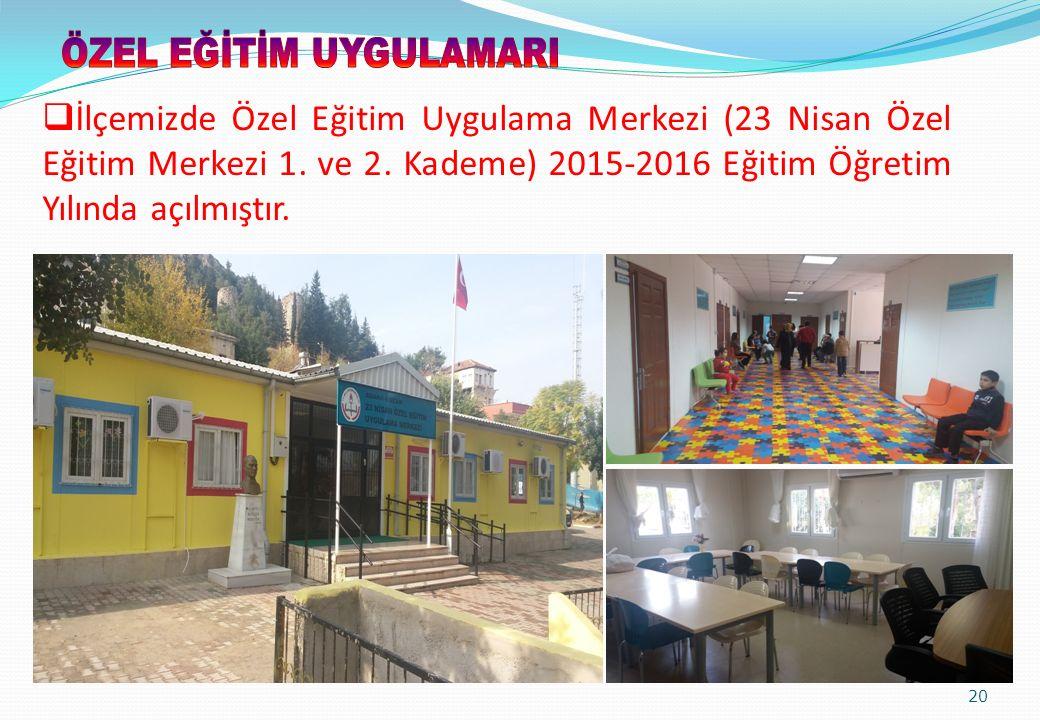 20  İlçemizde Özel Eğitim Uygulama Merkezi (23 Nisan Özel Eğitim Merkezi 1. ve 2. Kademe) 2015-2016 Eğitim Öğretim Yılında açılmıştır.