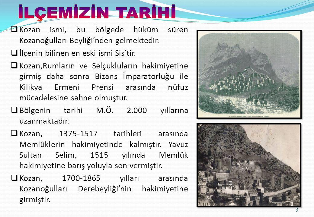  Kozan ismi, bu bölgede hüküm süren Kozanoğulları Beyliği'nden gelmektedir.  İlçenin bilinen en eski ismi Sis'tir.  Kozan,Rumların ve Selçukluların