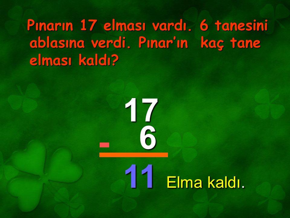 Pınarın 17 elması vardı. 6 tanesini ablasına verdi. Pınar'ın kaç tane elması kaldı? 17 6 11 - Elma kaldı.
