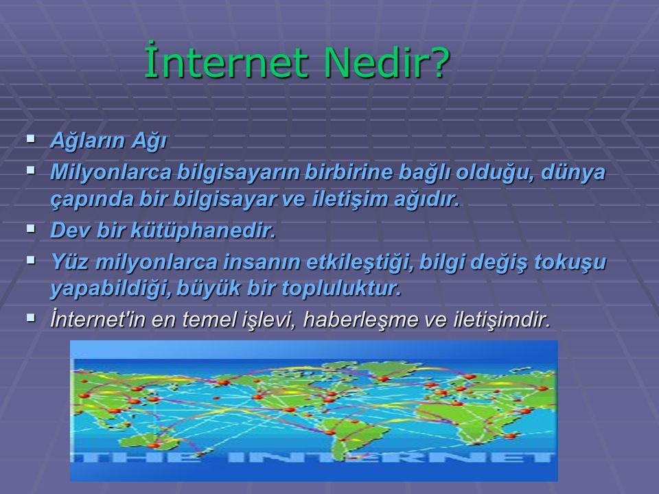  Ağların Ağı  Milyonlarca bilgisayarın birbirine bağlı olduğu, dünya çapında bir bilgisayar ve iletişim ağıdır.