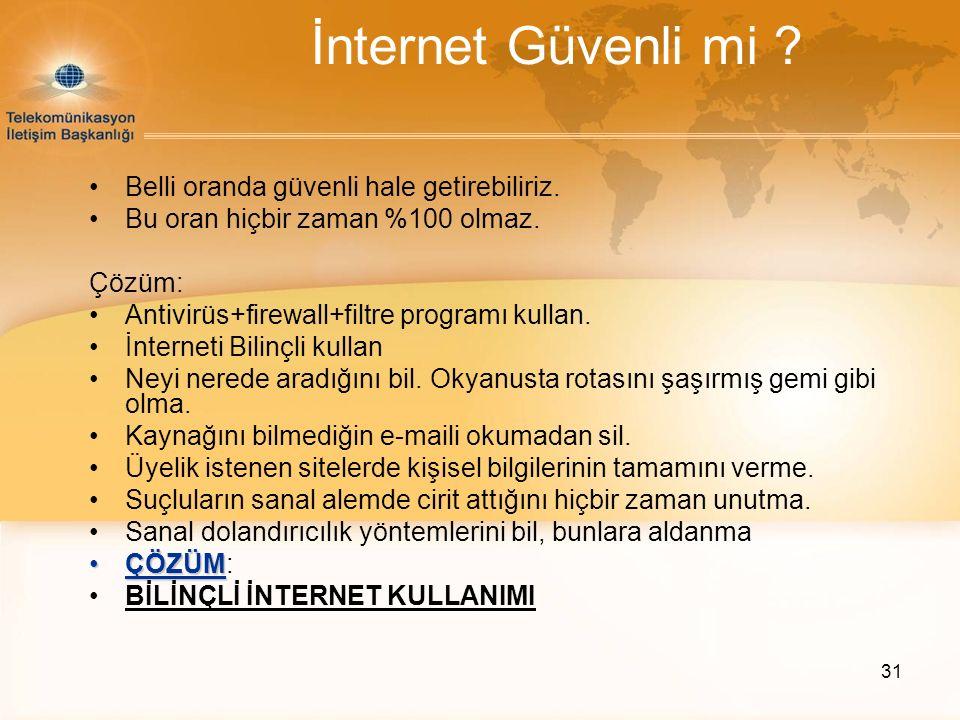 31 İnternet Güvenli mi .Belli oranda güvenli hale getirebiliriz.