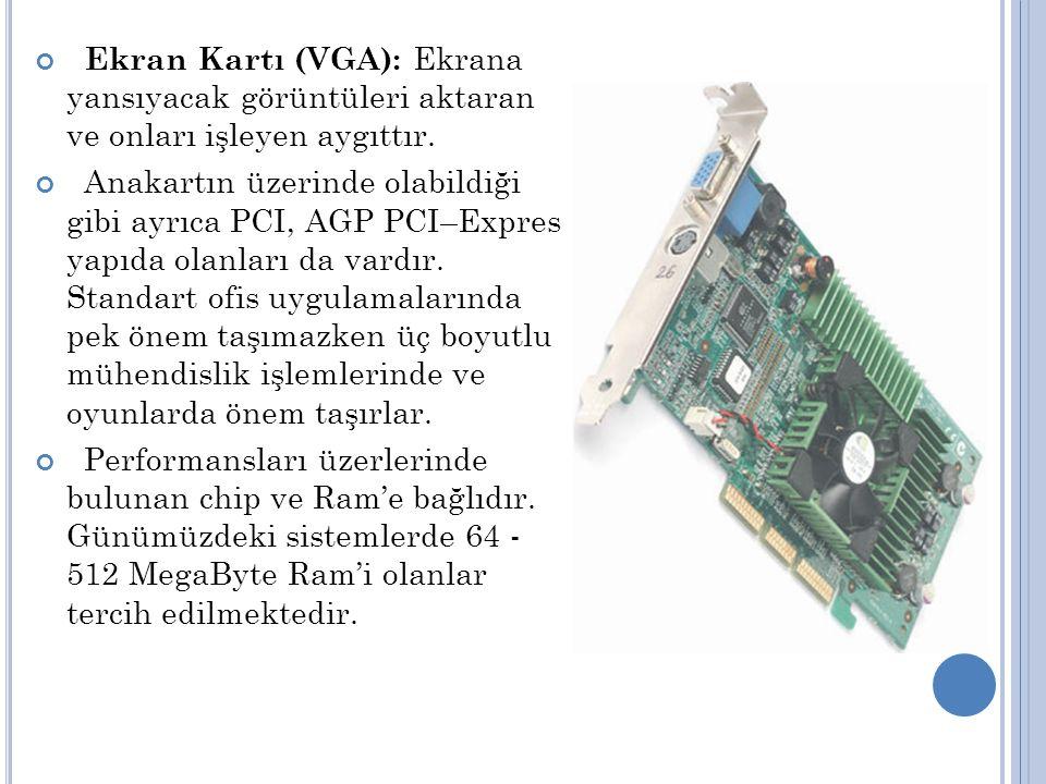 Ekran Kartı (VGA): Ekrana yansıyacak görüntüleri aktaran ve onları işleyen aygıttır.