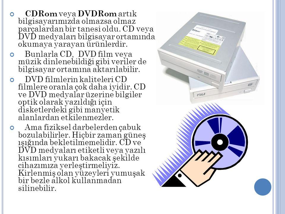 CDRom veya DVDRom artık bilgisayarımızda olmazsa olmaz parçalardan bir tanesi oldu.