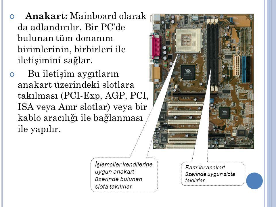 Anakart: Mainboard olarak da adlandırılır.