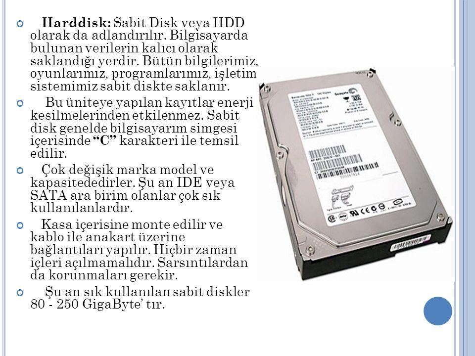 Harddisk: Sabit Disk veya HDD olarak da adlandırılır.