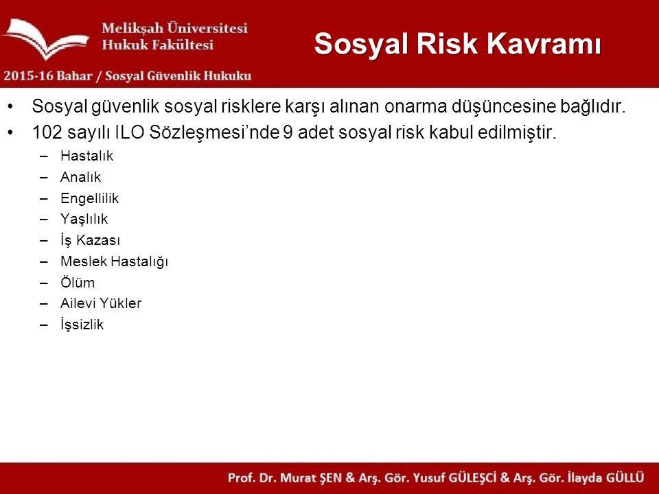 Sosyal Risk Kavramı Sosyal güvenlik sosyal risklere karşı alınan onarma düşüncesine bağlıdır. 102 sayılı ILO Sözleşmesi'nde 9 adet sosyal risk kabul e