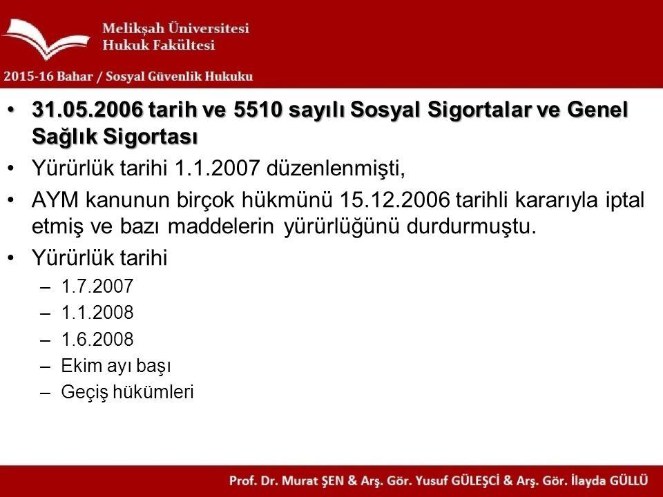 31.05.2006 tarih ve 5510 sayılı Sosyal Sigortalar ve Genel Sağlık Sigortası31.05.2006 tarih ve 5510 sayılı Sosyal Sigortalar ve Genel Sağlık Sigortası