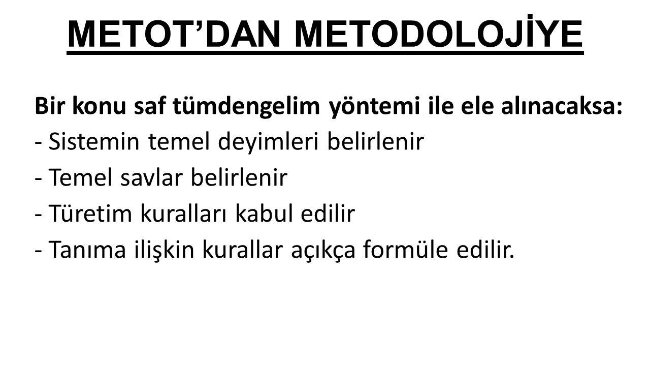 METOT'DAN METODOLOJİYE Bir konu saf tümdengelim yöntemi ile ele alınacaksa: - Sistemin temel deyimleri belirlenir - Temel savlar belirlenir - Türetim