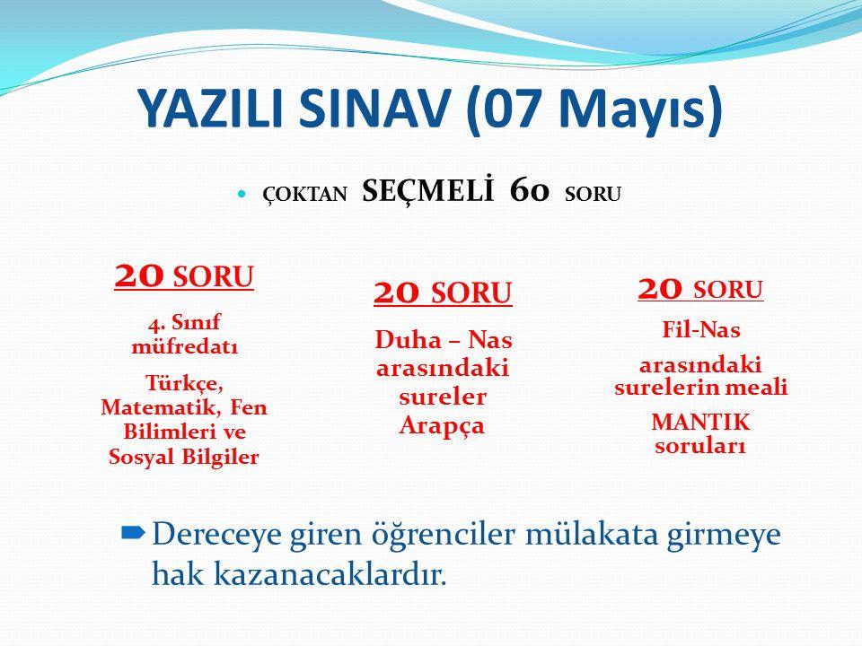 YAZILI SINAV (07 Mayıs) ÇOKTAN SEÇMELİ 60 SORU 20 SORU 4. Sınıf müfredatı Türkçe, Matematik, Fen Bilimleri ve Sosyal Bilgiler 20 SORU Duha – Nas arası