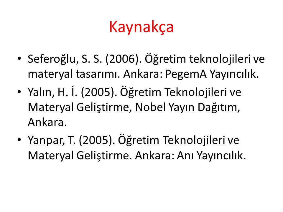 Kaynakça Seferoğlu, S. S. (2006). Öğretim teknolojileri ve materyal tasarımı. Ankara: PegemA Yayıncılık. Yalın, H. İ. (2005). Öğretim Teknolojileri ve