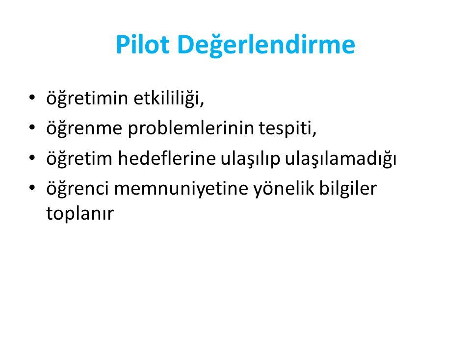Pilot Değerlendirme-Aşamaları Hedef kitleyi temsil eden 8 ile 20 arasında öğrenci seçilir.