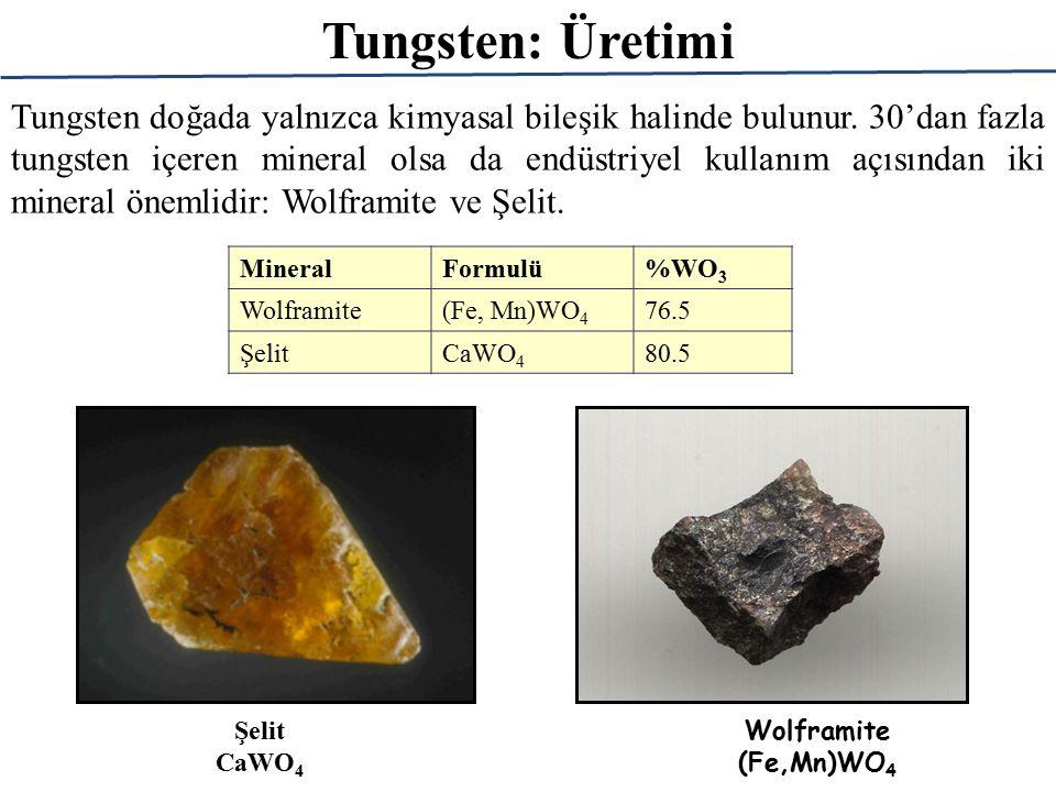 Tungsten: Üretimi Tungsten doğada yalnızca kimyasal bileşik halinde bulunur.
