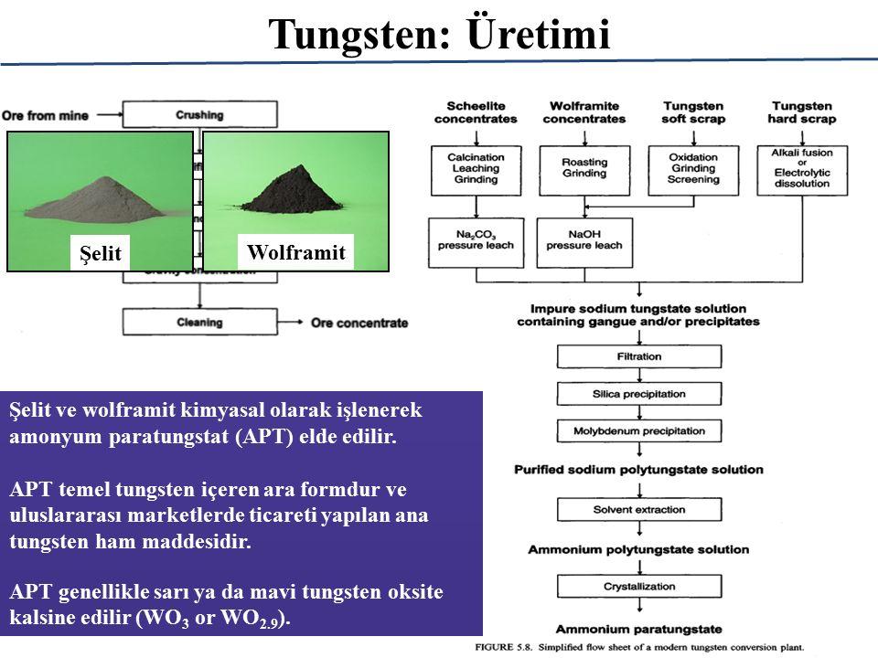 Şelit ve wolframit kimyasal olarak işlenerek amonyum paratungstat (APT) elde edilir.