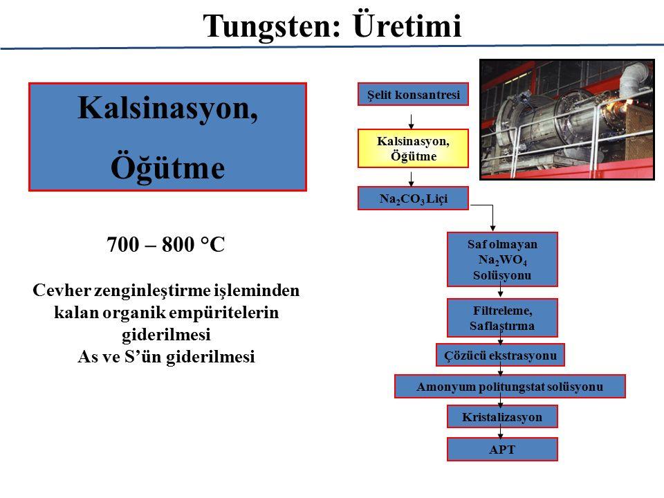 Tungsten: Üretimi Kalsinasyon, Öğütme 700 – 800 °C Cevher zenginleştirme işleminden kalan organik empüritelerin giderilmesi As ve S'ün giderilmesi Şelit konsantresi Kalsinasyon, Öğütme Na 2 CO 3 Liçi Saf olmayan Na 2 WO 4 Solüsyonu Filtreleme, Saflaştırma Çözücü ekstrasyonu Amonyum politungstat solüsyonu Kristalizasyon APT