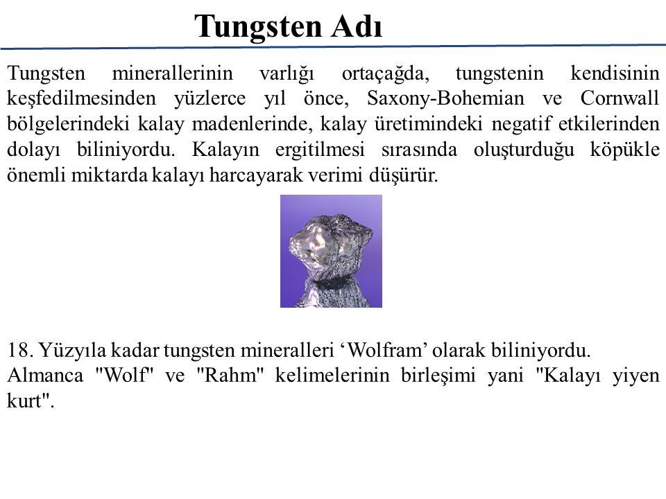 Tungsten: Üretimi Kristalizasyon Ammonium Paratungstate (APT) APT: (NH 4 ) 10 (H 2 W 12 O 42 ).4H 2 0 Al<10<100<10 As<50<2000<20 F<250<3000<10 Fe<10<200<10 Mo<10<60<20 Na<10<100<10 P<10<400<20 Si<10<200<20 V<100<1200<20 Feed Solution mg/l Mother Liquor mg/l APT, ppm APT kristalizasonundaki maksimum empürite değerleri Şelit konsantresi Kalsinasyon, Öğütme Na 2 CO 3 Liçi Saf olmayan Na 2 WO 4 solüsyonu Filtreleme, Saflaştırma Kristalizasyon APT Amonyum politungstat solüsyonu Çözücü ekstrasyonu