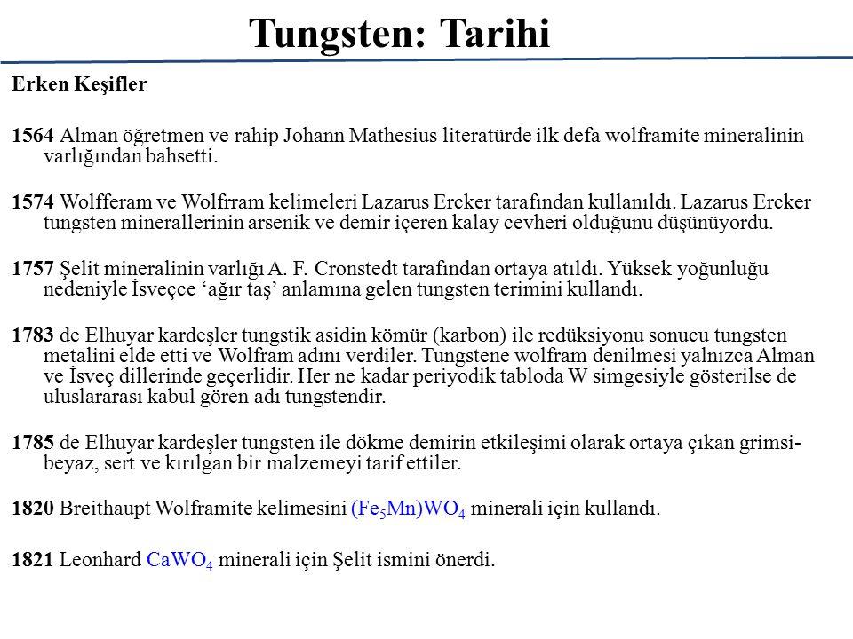 Tungsten: Tarihi Teknik Açıdan Önemli Keşifler 1855-57 Tungstenin özel çeliklerde kullanımı F.