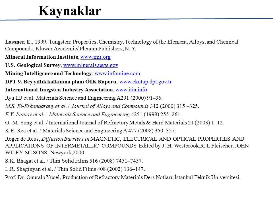 Kaynaklar Lassner, E., 1999.
